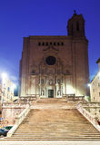 Morning view of Girona - Gothic Cathedral Stock Photography