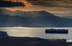Morning view on the gulf of Aqaba. The shot was taken at cloudy morning from the Eilat's mountains Stock Image