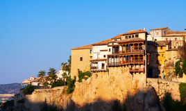 Morning view of Hanging houses in Cuenca Stock Images