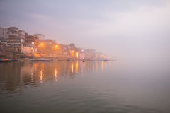 Morning view at holy ghats Royalty Free Stock Images
