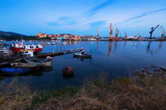 Morning view of Industrial seaport Royalty Free Stock Images