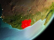 Morning view of Ivory Coast. Ivory Coast in the morning highlighted in red on planet Earth. 3D illustration. Elements of this image furnished by NASA Royalty Free Stock Photography