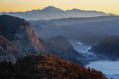 Morning view from Komna. Julian Alps Royalty Free Stock Images