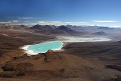 Morning view from Licancabur volcano. Licancabur volcano border Bolivia and Chile Royalty Free Stock Image
