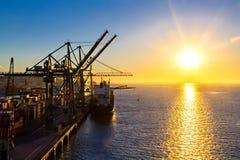 Morning view at Lisbon shipyard Stock Photo