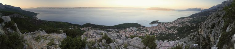 Morning view on Makarska riviera from Bikovo. Stock Photos