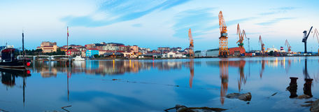 Morning view of  Maliano industrial port. Santander Royalty Free Stock Images
