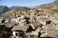 Morning view of Martadi village in western Nepal Royalty Free Stock Image