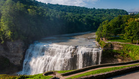 Morning view of Middle Falls, at Letchworth State Park, NY Royalty Free Stock Photos
