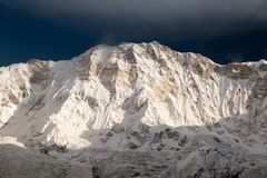 Morning view of Mount Annapurna from Annapurna base camp Royalty Free Stock Photo