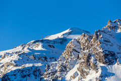 Morning view of the mountain La Grande-Motte. Tignes, France Royalty Free Stock Photo