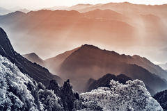 Morning view of the mountain peaks. Royalty Free Stock Image