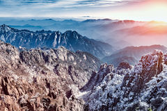 Morning view of the mountain peaks. Stock Image