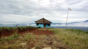Mountain with standing house. Morning view mountain with standing a house Stock Photos