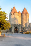 Morning view at the Narbonnaise Gate in Carcassonne. Royalty Free Stock Photos
