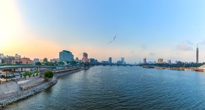 Morning view on the Nile in the downtown of Cairo, Egypt. Aerial, africa, aran, architecture, bank, blue, bridge, building, business, city, cityscape, egyptian royalty free stock image
