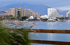 Morning view on northern beach of Eilat, Israel Stock Photography