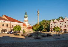 Free Morning View Of Column With Statue Of Virgin Mary On Husovo Square, Nove Mesto Nad Metuji, Czech Republic Royalty Free Stock Images - 171764599
