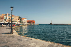 Morning view of old harbor in Chania, Greece Stock Photo