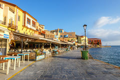Morning view of the old port of Chania on Crete, Greece. Chania is the second largest city of Crete. Royalty Free Stock Image