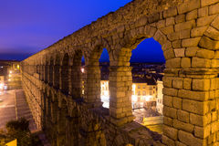 Morning view of old roman aqueduct at Segovia Stock Images