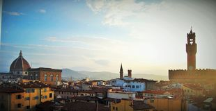 Morning view over Florence. View from the lookout tower Royalty Free Stock Images