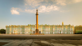 Morning view of the Palace Square, Alexander Column, Winter Pala Royalty Free Stock Photography