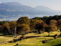 Morning view of the 5 peaks of Aso from the southern rim of Aso volcanic caldera. Aso-Kuju National Park, Kumamoto Prefecture, Japan stock photos