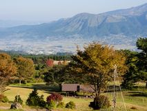 Morning view of the 5 peaks of Aso from the southern rim of Aso volcanic caldera. Aso-Kuju National Park, Kumamoto Prefecture, Japan royalty free stock photography