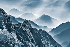 Morning view of the peaks of Huangshan National park. Royalty Free Stock Photo