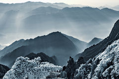 Morning view of the peaks of Huangshan National park. Stock Photos