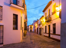Morning view of picturesque street in   Ronda Royalty Free Stock Photo