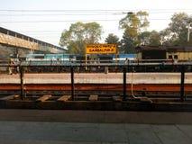 Sambalpur railway station. Morning view of platform and train engine at Sambalpur train station Royalty Free Stock Photography