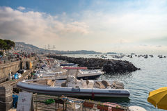 Morning view of port in Naples Royalty Free Stock Images