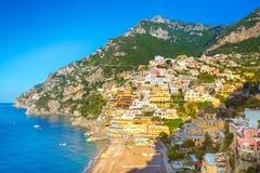 Morning view of Positano cityscape, Italy. Morning view of Positano cityscape on coast line of mediterranean sea, Italy Royalty Free Stock Photos