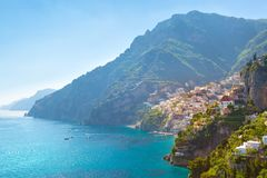 Morning view of Positano cityscape, Italy. Morning view of Positano cityscape on coast line of mediterranean sea, Italy Royalty Free Stock Images