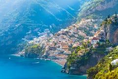 Morning view of Positano cityscape, Italy. Morning view of Positano cityscape on coast line of mediterranean sea, Italy Royalty Free Stock Photo