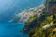 Morning view of Positano cityscape, Italy. Morning view of Positano cityscape on coast line of mediterranean sea, Italy Stock Photo