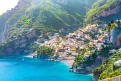 Morning view of Positano cityscape, Italy. Morning view of Positano cityscape on coast line of mediterranean sea, Italy royalty free stock photography