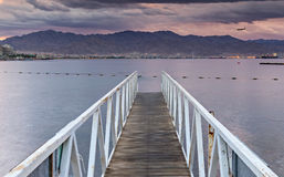 Morning view on Red Sea from the central beach of Eilat Stock Image