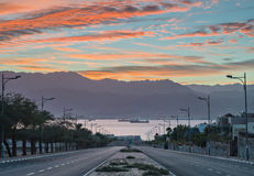 Morning view on the Red Sea from Eilat, Israel Stock Photos