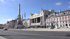 Morning view of Restauradores Square. Typical scene for visitors to Restauradores Square in Lisbon Portugal stock video footage
