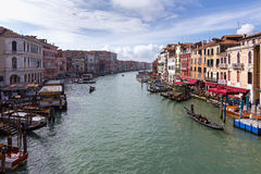 Morning view from the Rialto Bridge on the Grand Canal Royalty Free Stock Photos