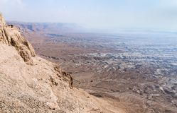 Morning view  from ruined Masada fortress to the Judean desert in Israel. Morning view from ruined Masada fortress to the Judean desert in Israel stock image