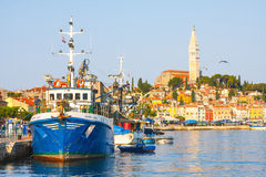 Morning view on sailboat harbor in Rovinj with many moored sail boats and yachts, Croatia Stock Photos