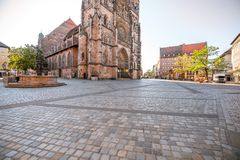 Cathedral in Nurnberg, Germany. Morning view on the saint Lorenz cathedral in the old town of Nurnberg, Germany royalty free stock image