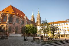 Cathedral in Nurnberg, Germany. Morning view on the saint Lorenz cathedral in the old town of Nurnberg, Germany stock photo