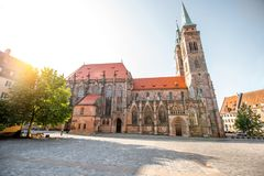 Cathedral in Nurnberg, Germany. Morning view on the saint Sebaldus cathedral in the old town of Nurnberg city, Germany royalty free stock photography