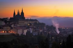 Morning view at Saint Vitus cathedral in Prague, Czech republic. Stock Image