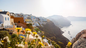 Morning view of the sea and the yachts Santorini Greece. Royalty Free Stock Photos